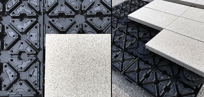 hydroPAVERS® Directly On GR52 Blue Roof - Pedestals Optopnal